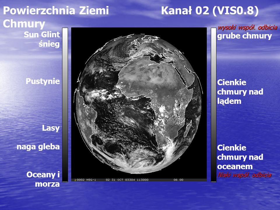 Powierzchnia Ziemi Kanał 02 (VIS0.8) Chmury wysoki współ. odbicia grube chmury Cienkie chmury nad lądem Cienkie chmury nad oceanem Niski współ. odbici