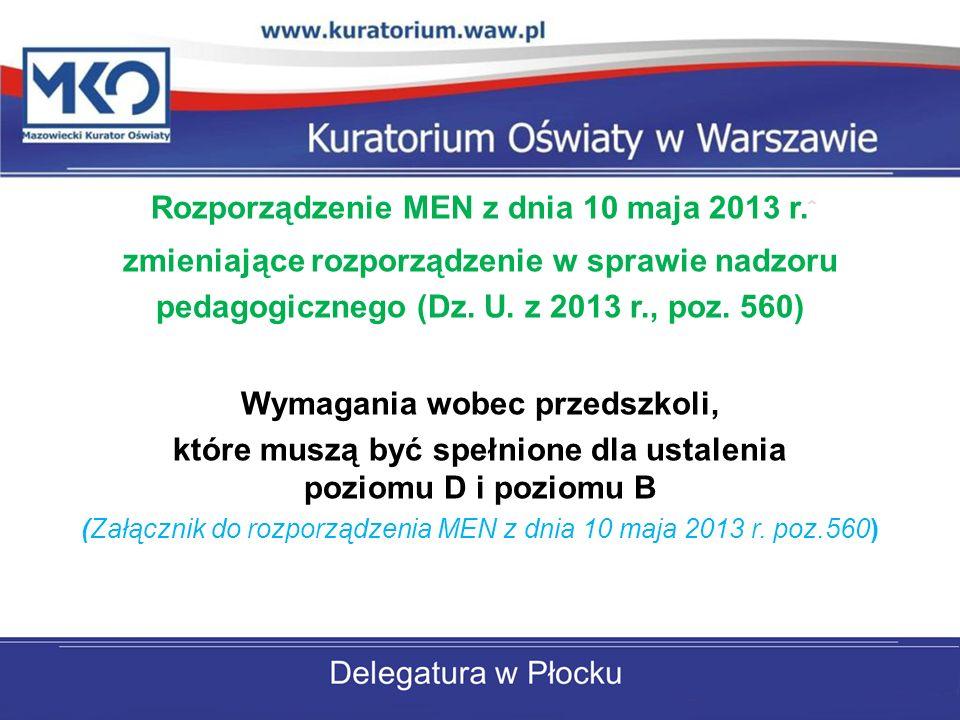 Rozporządzenie MEN z dnia 10 maja 2013 r. zmieniające rozporządzenie w sprawie nadzoru pedagogicznego (Dz. U. z 2013 r., poz. 560) Wymagania wobec prz