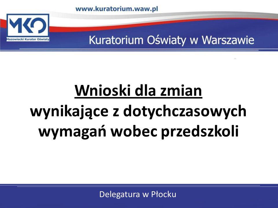 Delegatura w Płocku Wnioski dla zmian wynikające z dotychczasowych wymagań wobec przedszkoli