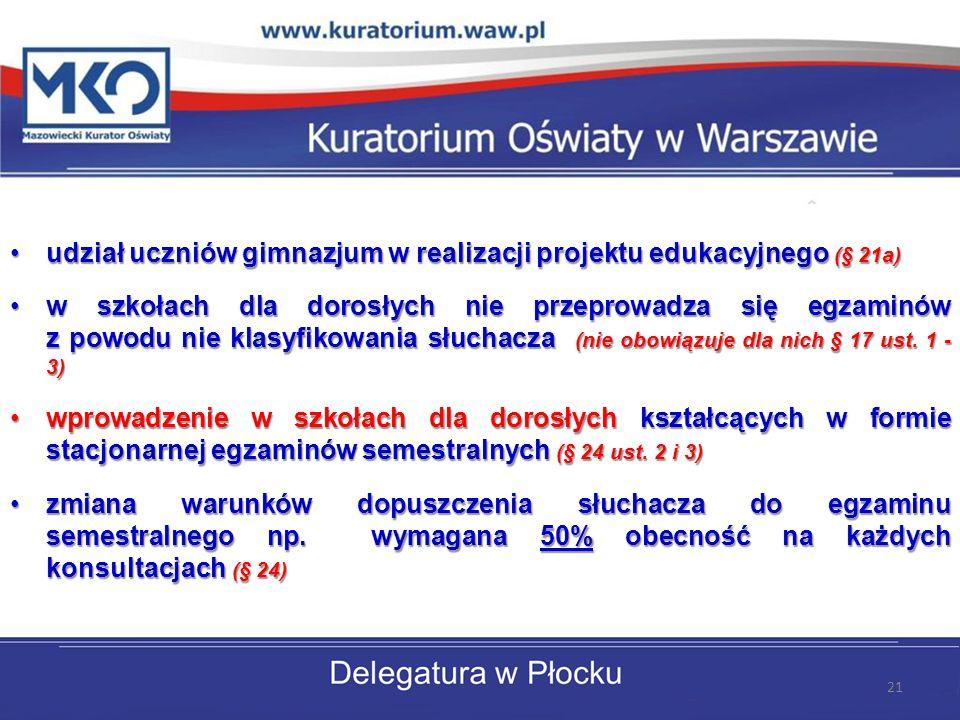 udział uczniów gimnazjum w realizacji projektu edukacyjnego (§ 21a)udział uczniów gimnazjum w realizacji projektu edukacyjnego (§ 21a) w szkołach dla