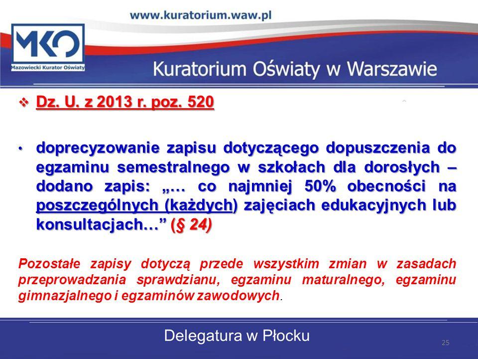 Dz. U. z 2013 r. poz. 520 Dz. U. z 2013 r. poz. 520 doprecyzowanie zapisu dotyczącego dopuszczenia do egzaminu semestralnego w szkołach dla dorosłych