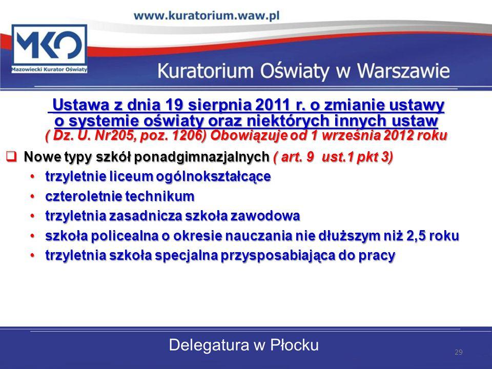 Ustawa z dnia 19 sierpnia 2011 r. o zmianie ustawy o systemie oświaty oraz niektórych innych ustaw ( Dz. U. Nr205, poz. 1206) Obowiązuje od 1 września