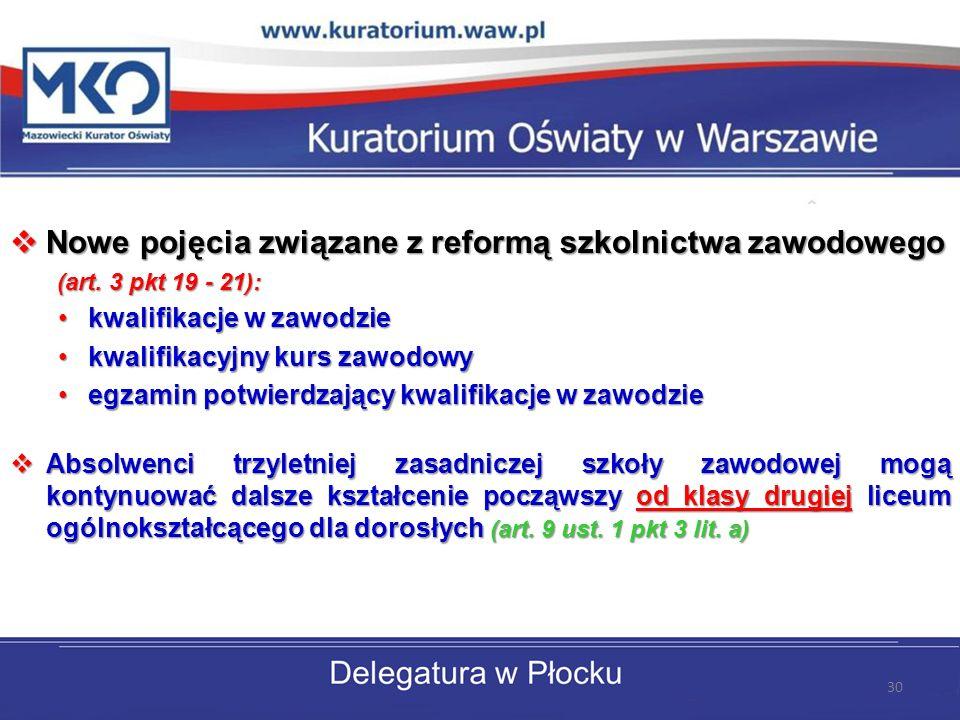 Nowe pojęcia związane z reformą szkolnictwa zawodowego Nowe pojęcia związane z reformą szkolnictwa zawodowego (art. 3 pkt 19 - 21): (art. 3 pkt 19 - 2