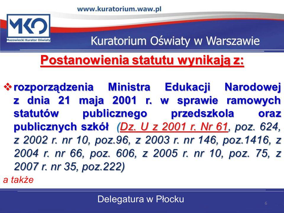 Postanowienia statutu wynikają z: rozporządzenia Ministra Edukacji Narodowej z dnia 21 maja 2001 r. w sprawie ramowych statutów publicznego przedszkol