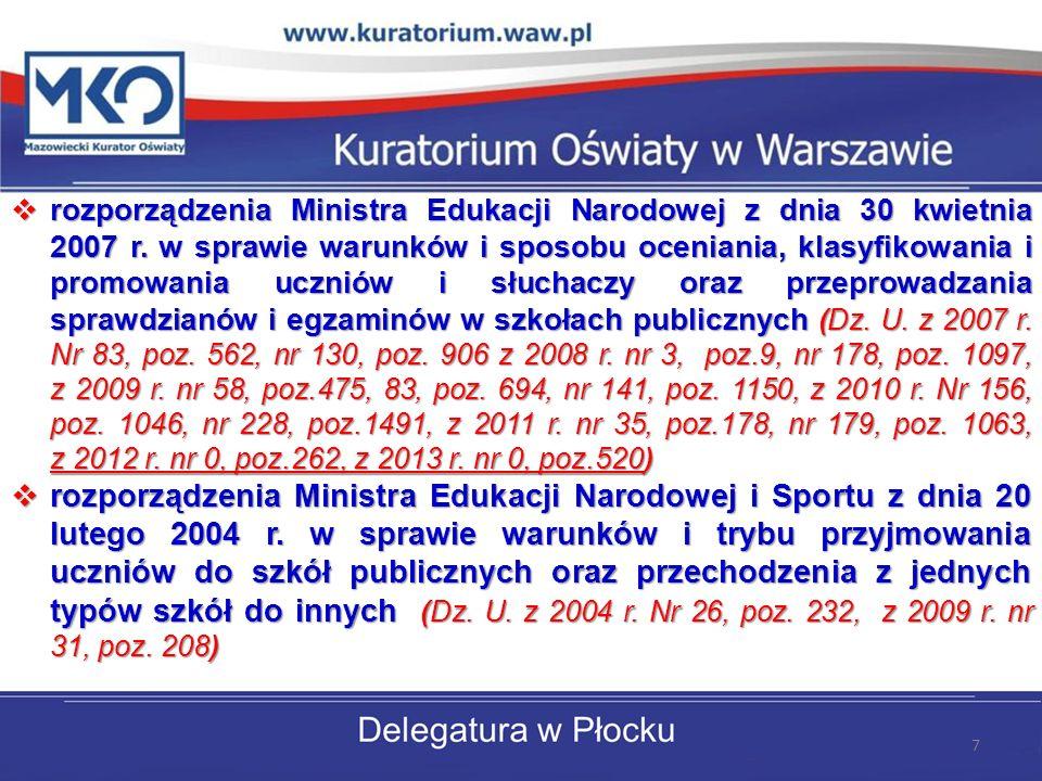 rozporządzenia Ministra Edukacji Narodowej z dnia 30 kwietnia 2007 r. w sprawie warunków i sposobu oceniania, klasyfikowania i promowania uczniów i sł