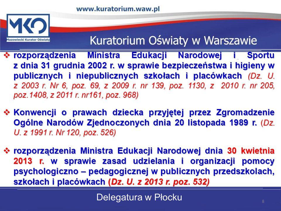 rozporządzenia Ministra Edukacji Narodowej i Sportu z dnia 31 grudnia 2002 r. w sprawie bezpieczeństwa i higieny w publicznych i niepublicznych szkoła