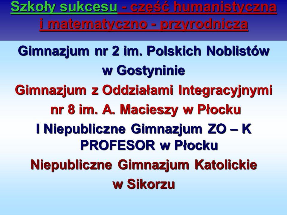 Szkoły sukcesu - część humanistyczna i matematyczno - przyrodnicza Gimnazjum nr 2 im. Polskich Noblistów w Gostyninie Gimnazjum z Oddziałami Integracy