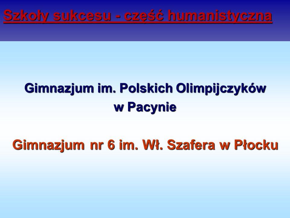 Szkoły sukcesu - część humanistyczna Gimnazjum im. Polskich Olimpijczyków w Pacynie Gimnazjum nr 6 im. Wł. Szafera w Płocku