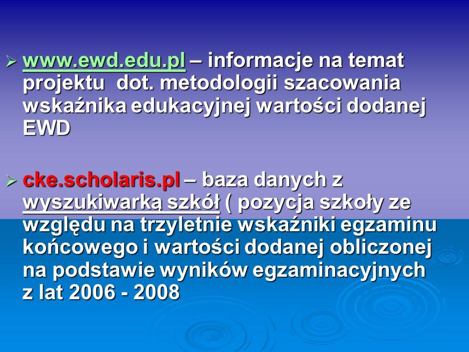 www.ewd.edu.pl – informacje na temat projektu dot. metodologii szacowania wskaźnika edukacyjnej wartości dodanej EWD www.ewd.edu.pl – informacje na te