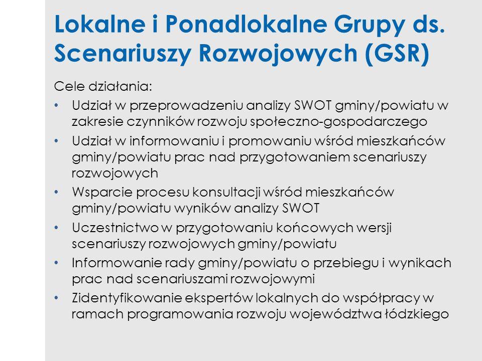 Lokalne i Ponadlokalne Grupy ds. Scenariuszy Rozwojowych (GSR) Cele działania: Udział w przeprowadzeniu analizy SWOT gminy/powiatu w zakresie czynnikó