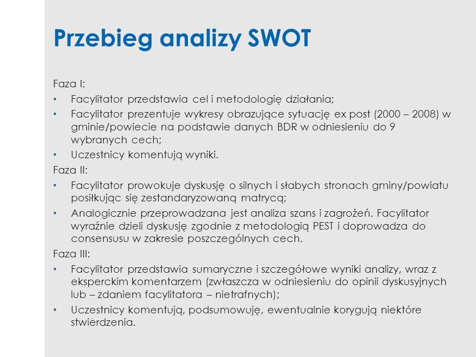 Przebieg analizy SWOT Faza I: Facylitator przedstawia cel i metodologię działania; Facylitator prezentuje wykresy obrazujące sytuację ex post (2000 –