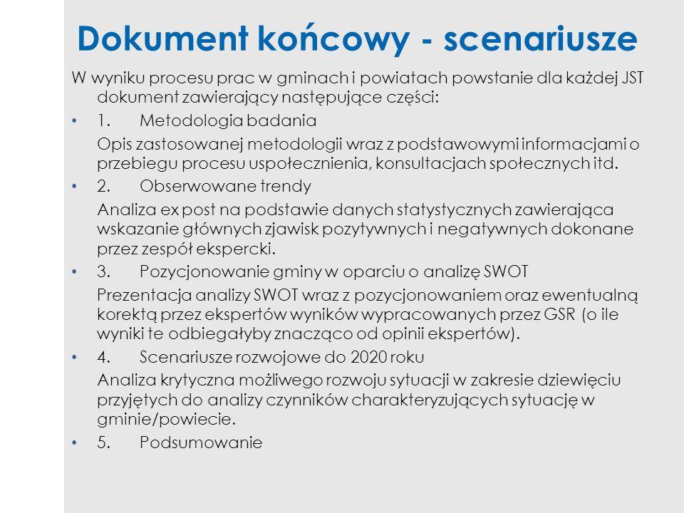 Dokument końcowy - scenariusze W wyniku procesu prac w gminach i powiatach powstanie dla każdej JST dokument zawierający następujące części: 1.Metodol