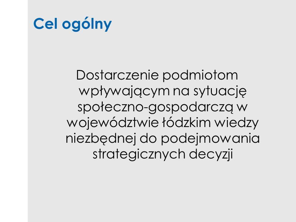 Cel ogólny Dostarczenie podmiotom wpływającym na sytuację społeczno-gospodarczą w województwie łódzkim wiedzy niezbędnej do podejmowania strategicznyc