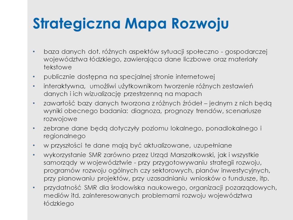 Strategiczna Mapa Rozwoju baza danych dot. różnych aspektów sytuacji społeczno - gospodarczej województwa łódzkiego, zawierająca dane liczbowe oraz ma