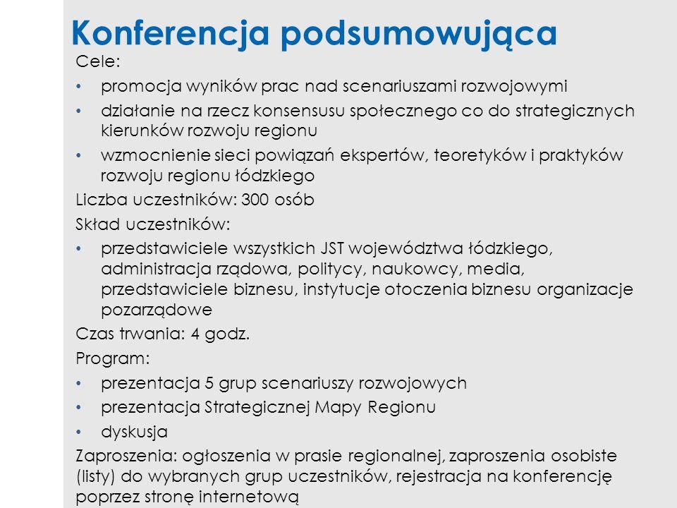 Konferencja podsumowująca Cele: promocja wyników prac nad scenariuszami rozwojowymi działanie na rzecz konsensusu społecznego co do strategicznych kie