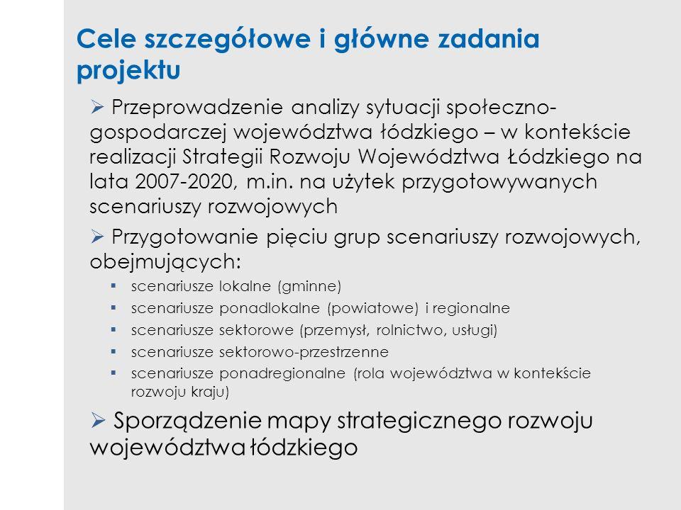 Cele szczegółowe i główne zadania projektu Przeprowadzenie analizy sytuacji społeczno- gospodarczej województwa łódzkiego – w kontekście realizacji St