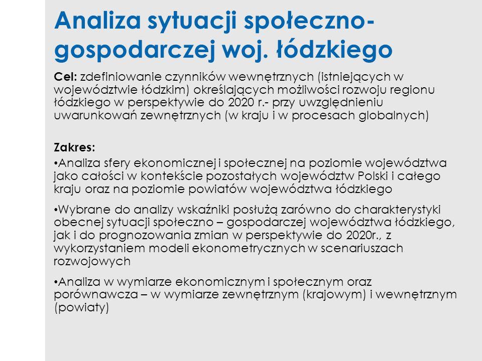 Analiza sytuacji społeczno- gospodarczej woj. łódzkiego Cel: zdefiniowanie czynników wewnętrznych (istniejących w województwie łódzkim) określających
