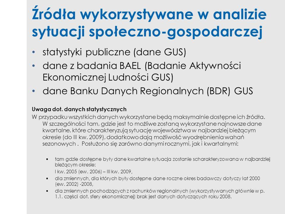 Źródła wykorzystywane w analizie sytuacji społeczno-gospodarczej statystyki publiczne (dane GUS) dane z badania BAEL (Badanie Aktywności Ekonomicznej