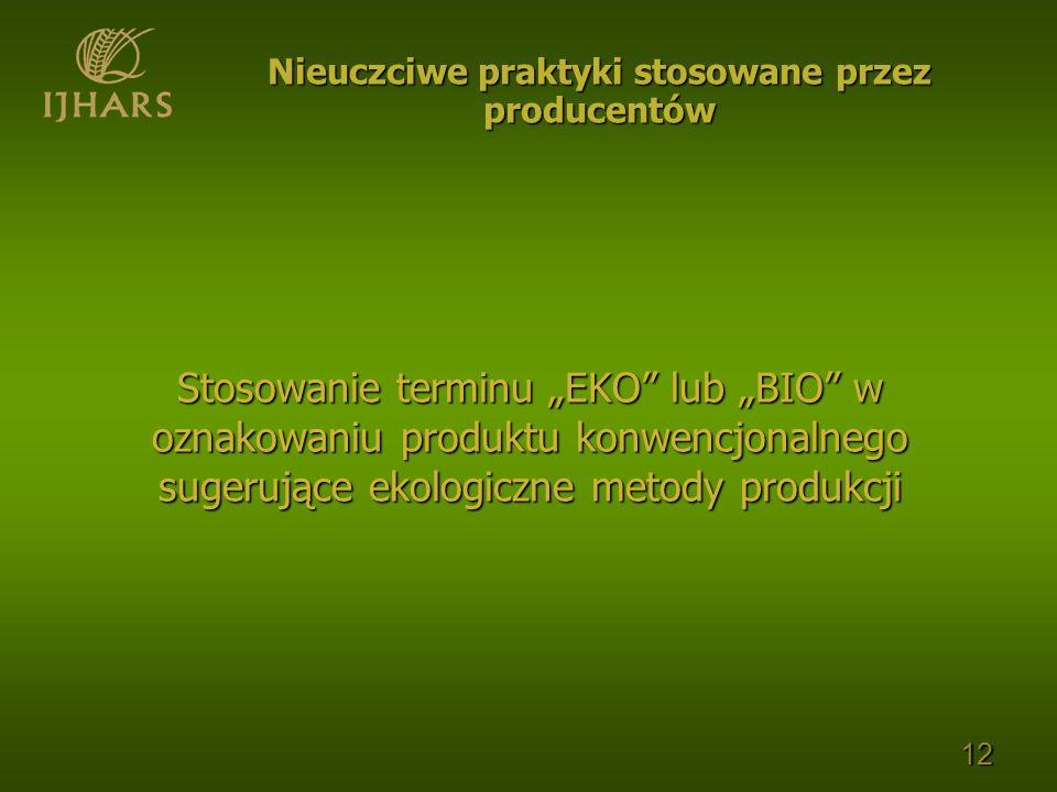 Stosowanie terminu EKO lub BIO w oznakowaniu produktu konwencjonalnego sugerujące ekologiczne metody produkcji 12 Nieuczciwe praktyki stosowane przez