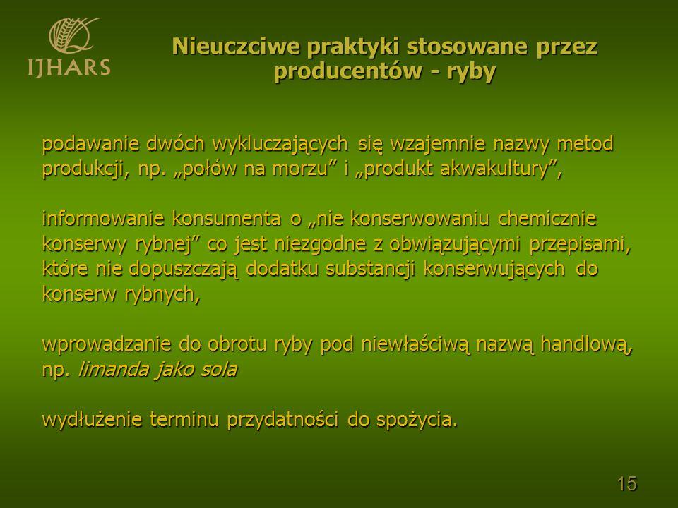 podawanie dwóch wykluczających się wzajemnie nazwy metod produkcji, np. połów na morzu i produkt akwakultury, informowanie konsumenta o nie konserwowa