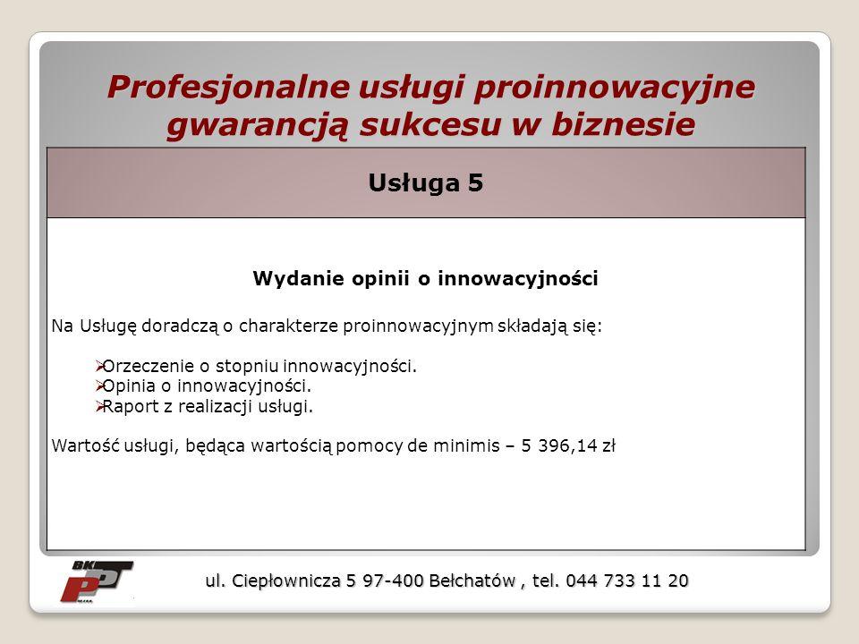 Profesjonalne usługi proinnowacyjne gwarancją sukcesu w biznesie ul. Ciepłownicza 5 97-400 Bełchatów, tel. 044 733 11 20 Usługa 5 Wydanie opinii o inn