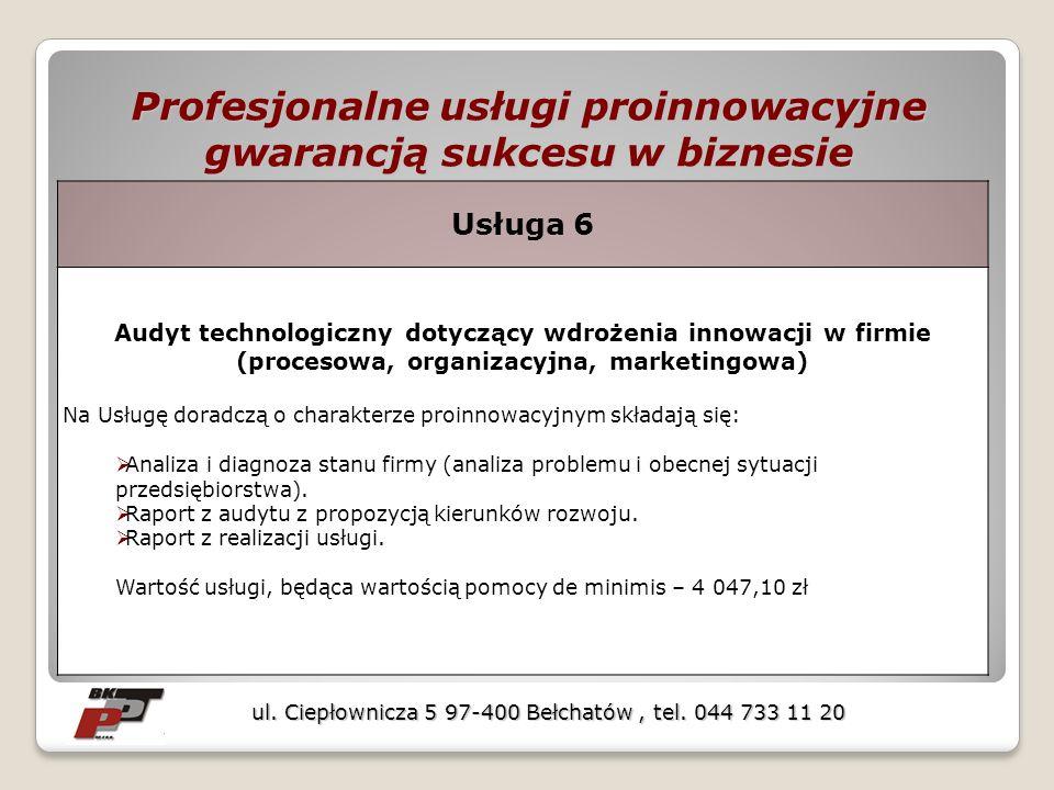 Profesjonalne usługi proinnowacyjne gwarancją sukcesu w biznesie ul. Ciepłownicza 5 97-400 Bełchatów, tel. 044 733 11 20 Usługa 6 Audyt technologiczny