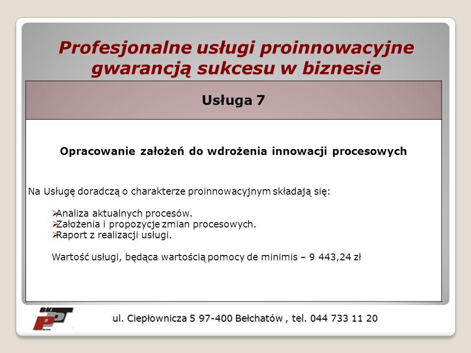 Profesjonalne usługi proinnowacyjne gwarancją sukcesu w biznesie ul. Ciepłownicza 5 97-400 Bełchatów, tel. 044 733 11 20 Usługa 7 Opracowanie założeń