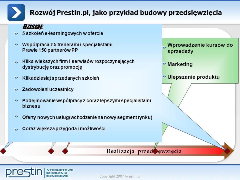 Copyright 2007 Prestin.pl Rozwój Prestin.pl, jako przykład budowy przedsięwzięcia Zainteresowanie Ustalenie celów- co chcę osiągnąć w przyszłości Szukanie pomysłów, które to wiązały Obserwacja, edukacja Decyzja Ustalenie planu Przygotowanie do realizacji Działanie Realizacja przedsięwzięcia Wprowadzenie kursów do sprzedaży Marketing Ulepszanie produktu Dzisiaj: 5 szkoleń e-learningowych w ofercie Współpraca z 5 trenerami i specjalistami Prawie 150 partnerów PP Kilka większych firm i serwisów rozpoczynających dystrybucję oraz promocję Kilkadziesiąt sprzedanych szkoleń Zadowoleni uczestnicy Podejmowanie współpracy z coraz lepszymi specjalistami biznesu Oferty nowych usług(wchodzenie na nowy segment rynku) Coraz większa przygoda i możliwości