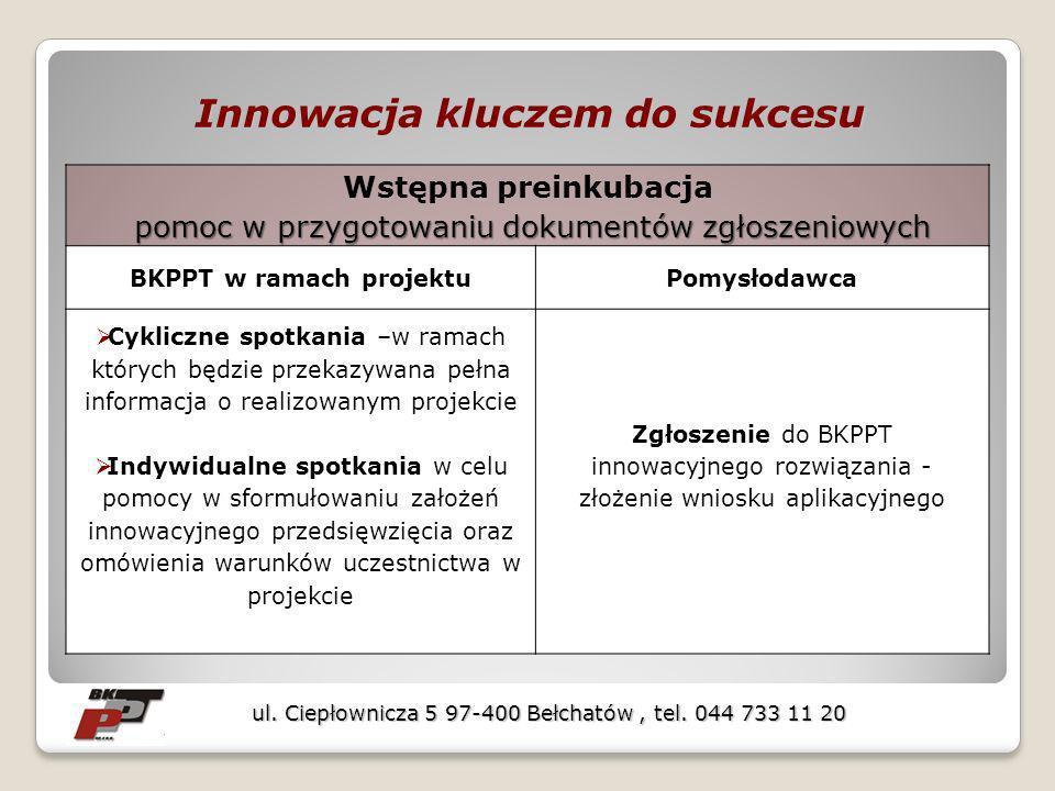 Innowacja kluczem do sukcesu Wstępna preinkubacja pomoc w przygotowaniu dokumentów zgłoszeniowych pomoc w przygotowaniu dokumentów zgłoszeniowych BKPP