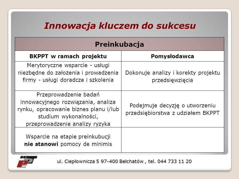 Preinkubacja BKPPT w ramach projektuPomysłodawca Merytoryczne wsparcie - usługi niezbędne do założenia i prowadzenia firmy - usługi doradcze i szkolen