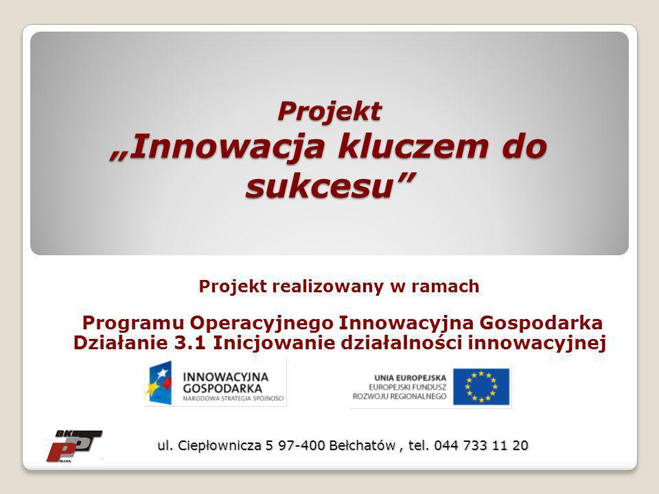 Projekt Innowacja kluczem do sukcesu Projekt realizowany w ramach Programu Operacyjnego Innowacyjna Gospodarka Działanie 3.1 Inicjowanie działalności