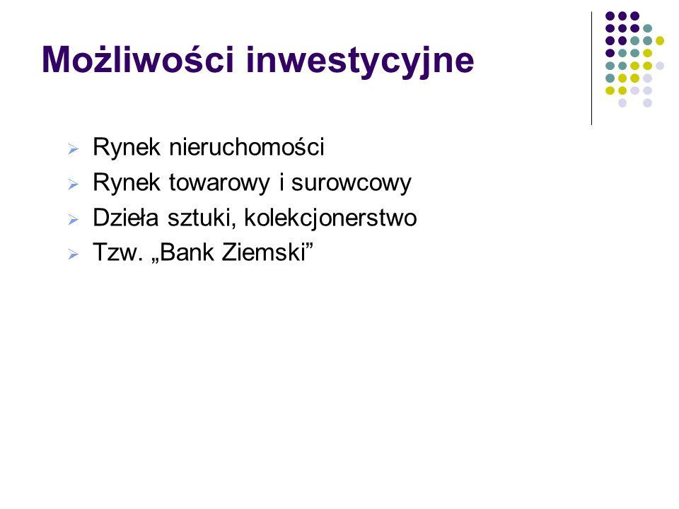 Możliwości inwestycyjne Klasyczne produkty bankowe (lokaty, CD) Instrumenty rynków finansowych Fundusze inwestycje polskie i zagraniczne o różnym pozi