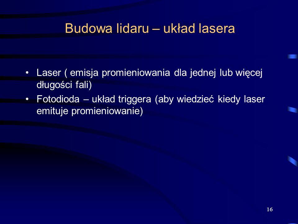 Budowa lidaru – układ lasera Laser ( emisja promieniowania dla jednej lub więcej długości fali) Fotodioda – układ triggera (aby wiedzieć kiedy laser emituje promieniowanie) 16