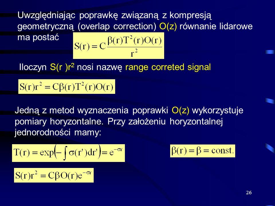 26 Uwzględniając poprawkę związaną z kompresją geometryczną (overlap correction) O(z) równanie lidarowe ma postać Iloczyn S(r )r 2 nosi nazwę range correted signal Jedną z metod wyznaczenia poprawki O(z) wykorzystuje pomiary horyzontalne.