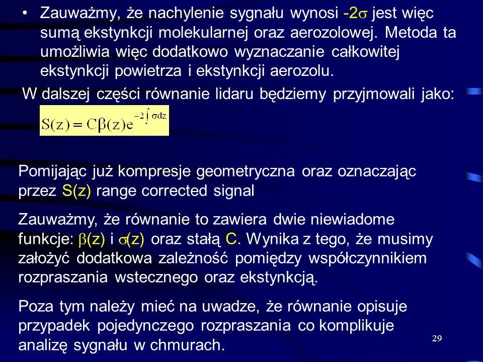29 Zauważmy, że nachylenie sygnału wynosi -2 jest więc sumą ekstynkcji molekularnej oraz aerozolowej.