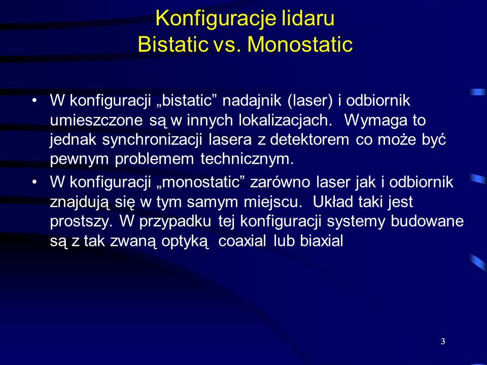 Konfiguracje lidaru Bistatic vs.
