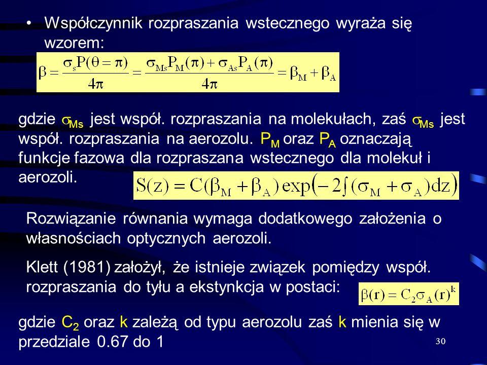 30 Współczynnik rozpraszania wstecznego wyraża się wzorem: gdzie Ms jest współ.