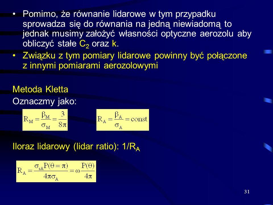 31 Pomimo, że równanie lidarowe w tym przypadku sprowadza się do równania na jedną niewiadomą to jednak musimy założyć własności optyczne aerozolu aby obliczyć stałe C 2 oraz k.