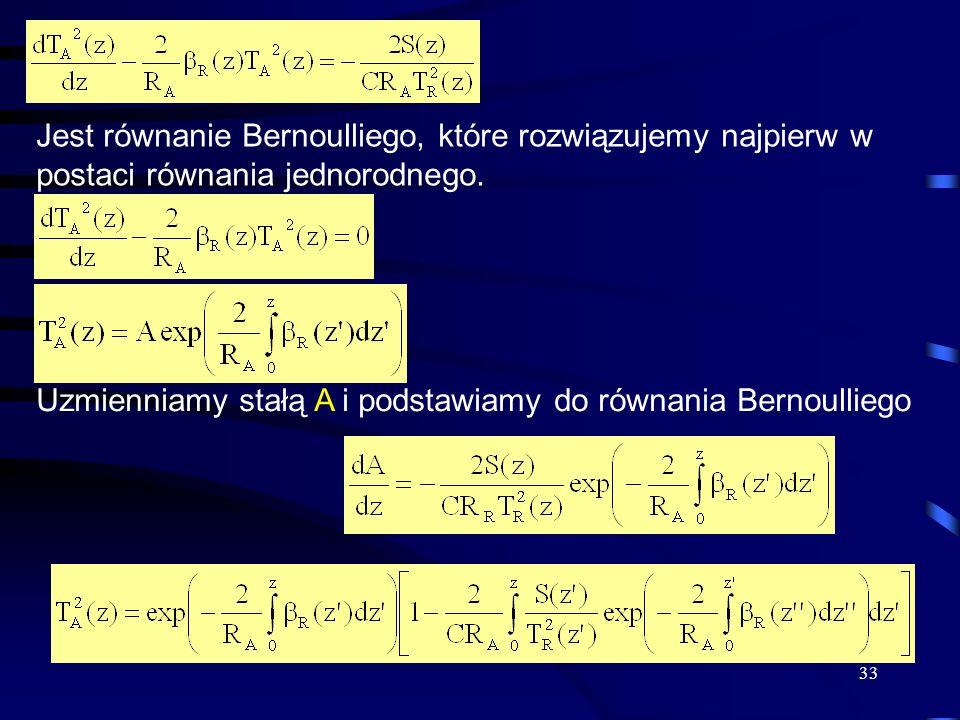33 Jest równanie Bernoulliego, które rozwiązujemy najpierw w postaci równania jednorodnego.