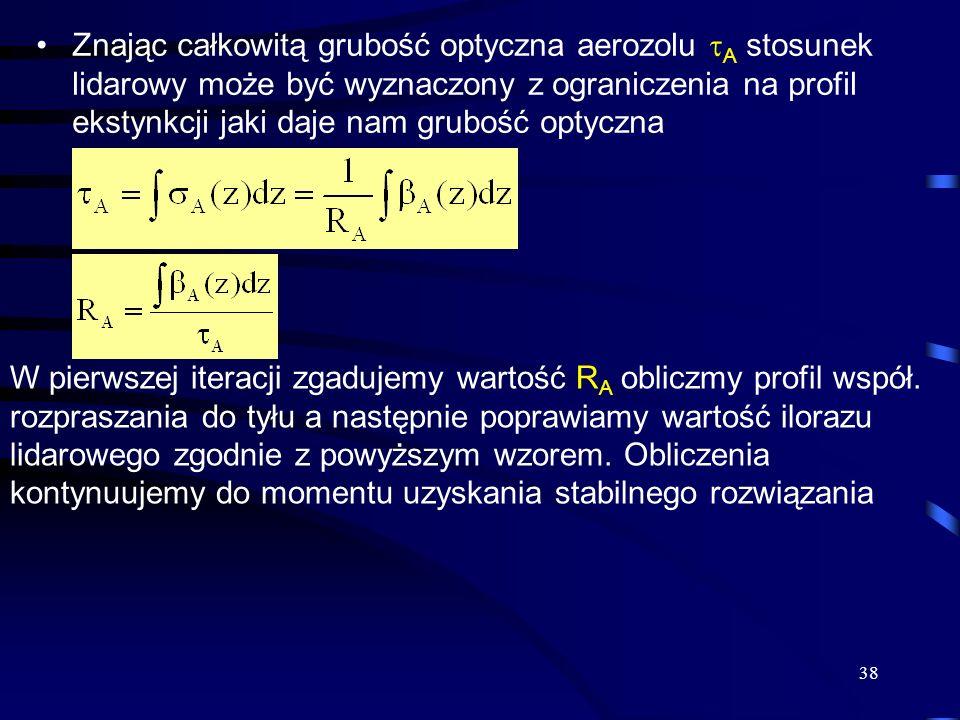 38 Znając całkowitą grubość optyczna aerozolu A stosunek lidarowy może być wyznaczony z ograniczenia na profil ekstynkcji jaki daje nam grubość optyczna W pierwszej iteracji zgadujemy wartość R A obliczmy profil współ.