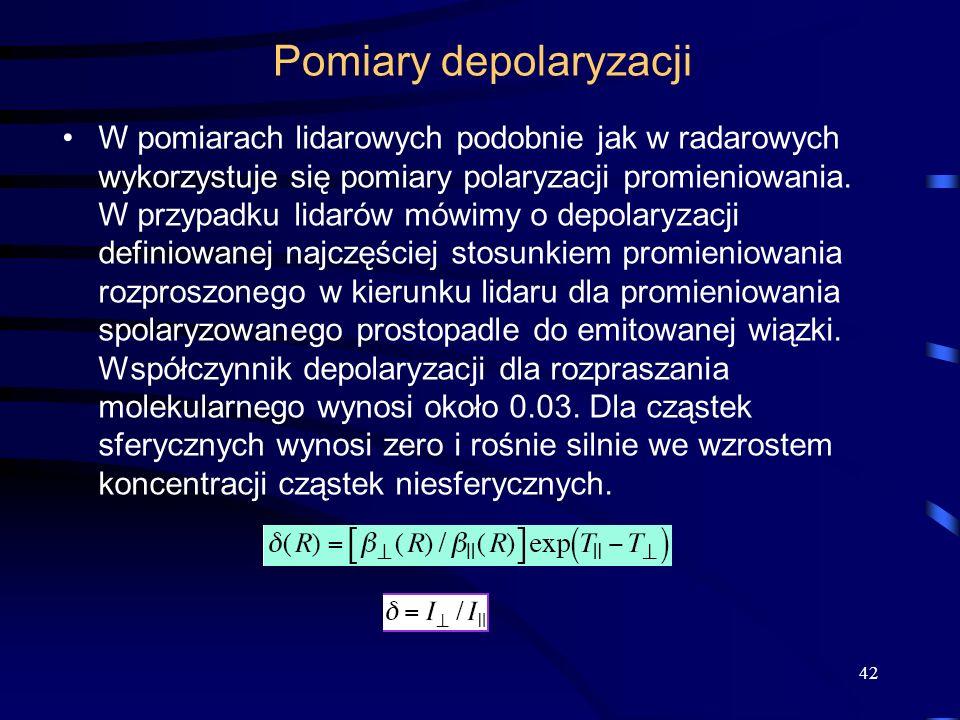 Pomiary depolaryzacji W pomiarach lidarowych podobnie jak w radarowych wykorzystuje się pomiary polaryzacji promieniowania.