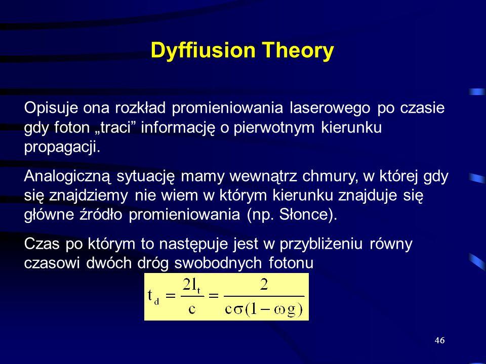 46 Dyffiusion Theory Opisuje ona rozkład promieniowania laserowego po czasie gdy foton traci informację o pierwotnym kierunku propagacji.