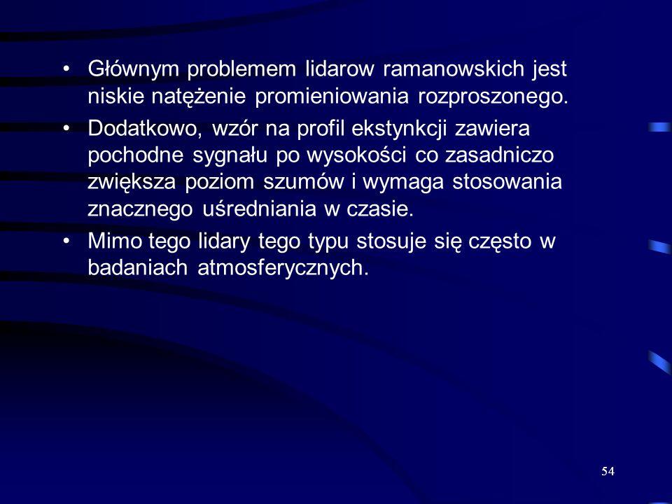 54 Głównym problemem lidarow ramanowskich jest niskie natężenie promieniowania rozproszonego.
