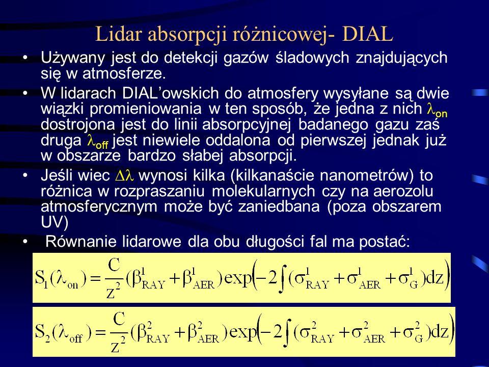 69 Lidar absorpcji różnicowej- DIAL Używany jest do detekcji gazów śladowych znajdujących się w atmosferze.