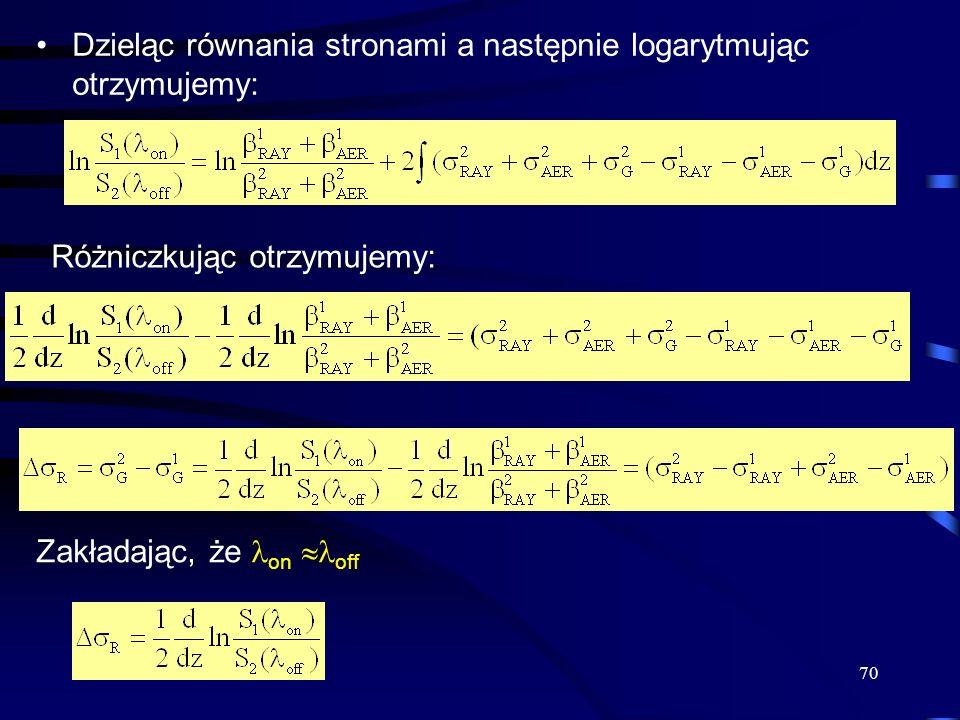 70 Dzieląc równania stronami a następnie logarytmując otrzymujemy: Różniczkując otrzymujemy: Zakładając, że on off