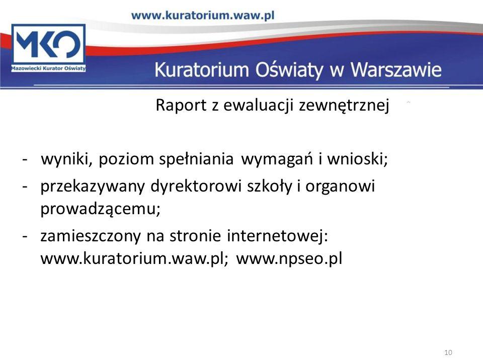 Raport z ewaluacji zewnętrznej - wyniki, poziom spełniania wymagań i wnioski; -przekazywany dyrektorowi szkoły i organowi prowadzącemu; -zamieszczony