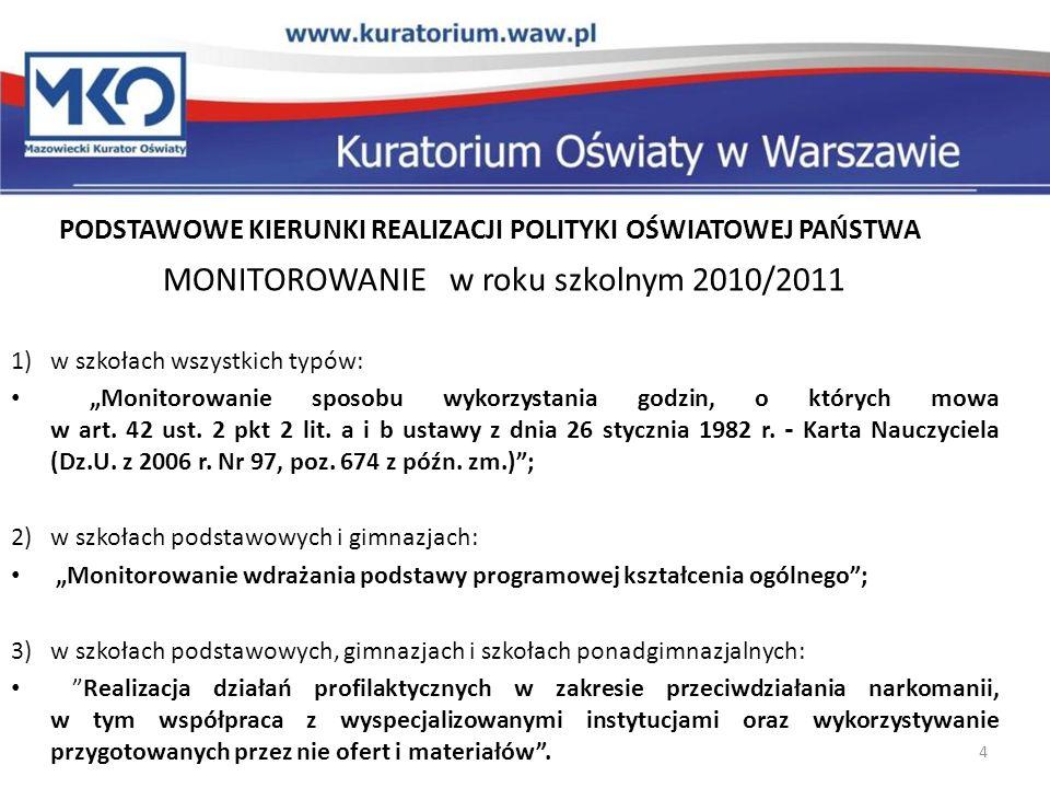 PODSTAWOWE KIERUNKI REALIZACJI POLITYKI OŚWIATOWEJ PAŃSTWA MONITOROWANIE w roku szkolnym 2010/2011 1)w szkołach wszystkich typów: Monitorowanie sposob