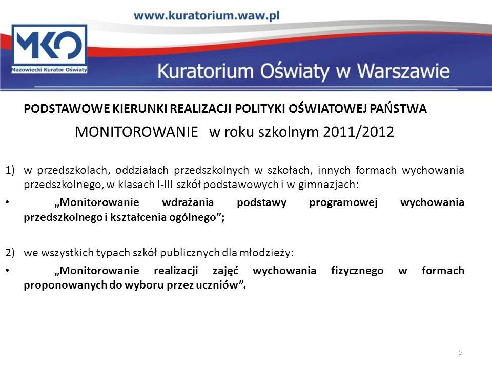 PODSTAWOWE KIERUNKI REALIZACJI POLITYKI OŚWIATOWEJ PAŃSTWA MONITOROWANIE w roku szkolnym 2011/2012 1)w przedszkolach, oddziałach przedszkolnych w szko