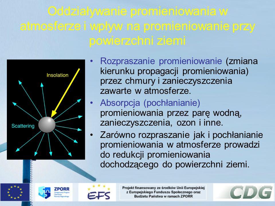 Oddziaływanie promieniowania w atmosferze i wpływ na promieniowanie przy powierzchni ziemi Rozpraszanie promieniowanie (zmiana kierunku propagacji pro