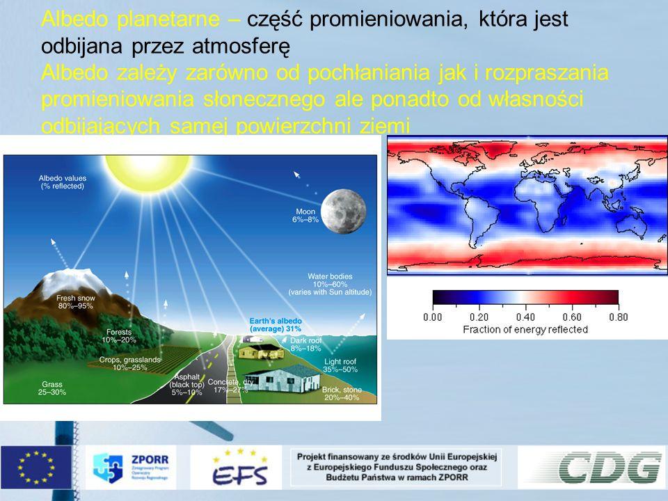 Albedo planetarne – część promieniowania, która jest odbijana przez atmosferę Albedo zależy zarówno od pochłaniania jak i rozpraszania promieniowania